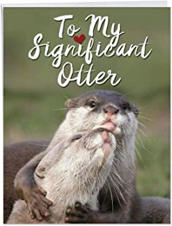 Significant Otters Valentine's Day Greeting Card with Envelope (Letterhead 8.5 x 11 Inch) - Funny Animal Valentines Stationery Notecard for Wife, Husband, Marriage - Adorable Wildlife Love J5528VDG