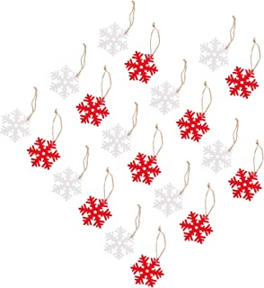 Toyvian 20pcs Wooden Christmas Ornaments Snowflakes Wood Cutouts Slices Gift Tags Embellishments with 4M Hemp Ropes Xmas H...