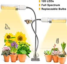 Grow Light, Ankace 60W Full Spectrum Grow Lamp, Dual Head Gooseneck Plant Lights for Indoor Plants with Replaceable Bulb, 3 Switch Modes