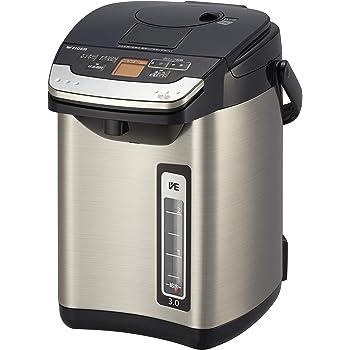 タイガー魔法瓶(TIGER) 電気ポット蒸気レス 節電VE保温 給湯量表示機能つき とく子さん 3L ブラック PIG-J300K