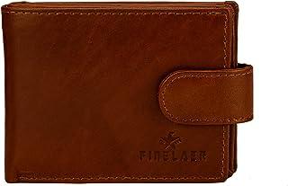 Finelaer Men Top Grain Dark Brown Leather RFID Billfold Wallet