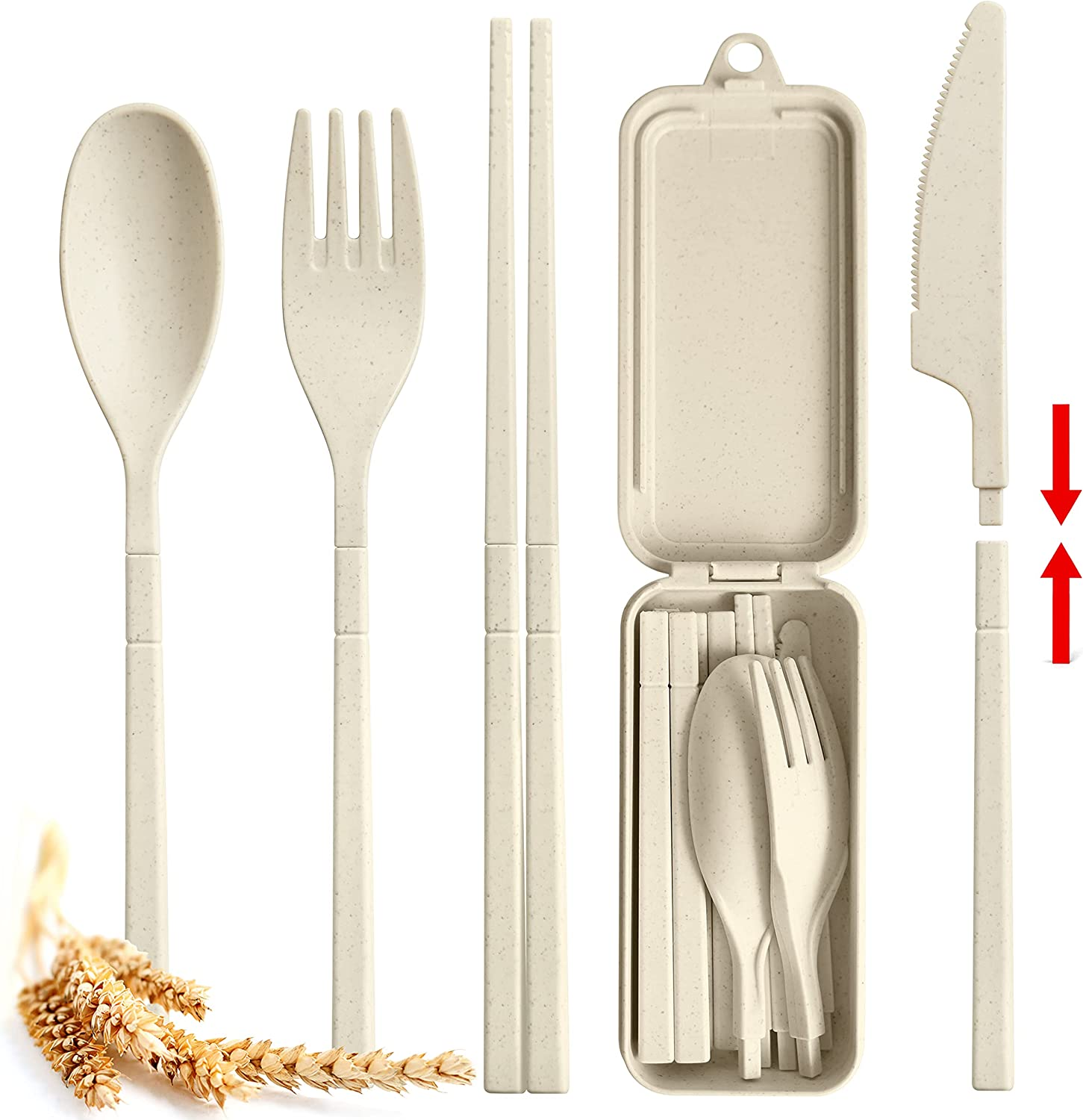 Pocket Max Special sale item 86% OFF Sized Wheat Straw Plastic Travel Cutlery by Set With Case
