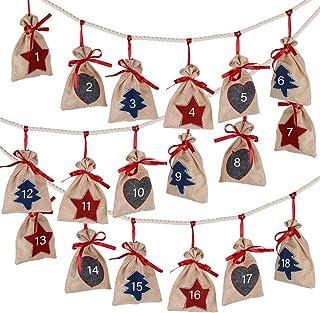 D-FantiX Christmas Advent Calendar 2021, 24 Days Burlap Hanging Advent Calendars Garland Candy Gift Bags Sacks DIY Xmas Co...