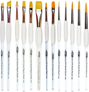 ZEM Brush Rocket Student Gel Grip Acrylic Handle 13 Pcs Multi Media Brush Set with Free Zipper Case