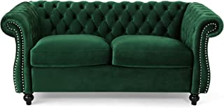 Christopher Knight Home Karen Traditional Chesterfield Loveseat Sofa, Emerald and Dark Brown, 61.75 x 33.75 x 27.75