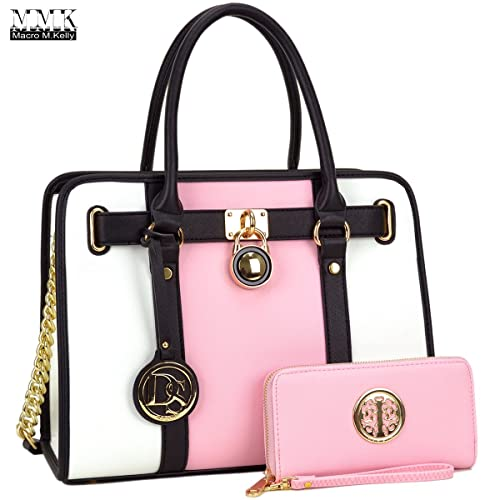 724ba6255397 MMK Collection Fashion Women handbag~Pad-Lock Medium Fashion Satchel~  Top-Handle