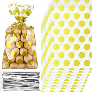 200 Pieces Gold Polka Dot Cellophane Bags with 200 Pieces Golden Twist Ties Party Supplies, 8.3 x 5.1 x 1.6 Inch Treat Can...