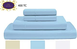 400 Thread Count 100% Premium Cotton sheets, Fits Mattress Up to 15'' Deep Pocket, Sateen Weave, Sky Blue, Queen Size, 4-Pieces Set, Marrow Hem, Breathable, Hotel Luxury, Extra Soft Bed Linen set