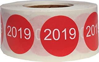 Red 2019 Circle Dot Stickers, 3/4 Inch Round, 500 Labels on a Roll