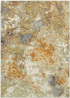 "Moretti Remark Area Rug 8031B Gold Eroding Faded 6' 7"" x 9' 6"" Rectangle"