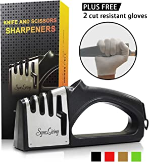 Sync Living Knife and Scissor Sharpeners,4 Stage Knife Sharpener, 4-in-1 Knife and Scissors Sharpener with Diamond, Ceramic, Tungsten, Kitchen Tools for Kinds of Knives, Black