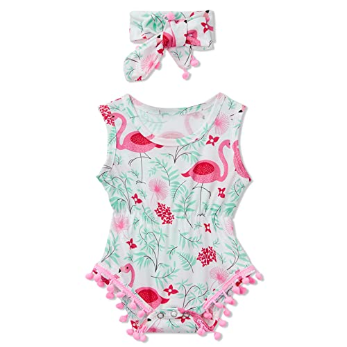 5ee4a6890a8 Leapparel Newborn Toddler Baby Girl Floral Sleeveless Bodysuit Romper  Jumpsuit Outfit Set Casual Clothes with Headband