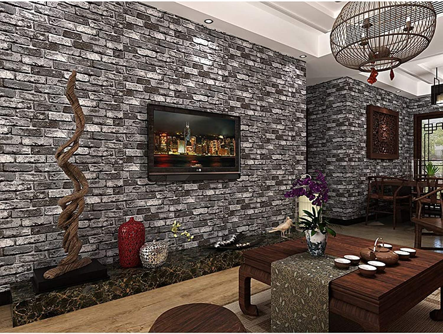 AMHD Wallpaper Vintage Brick Pattern Wallpaper 3D Effect PVC Vinyl Wall Decoration for Bars Cafes Restaurants LMD029 (color   A, Size   393in20.8in)