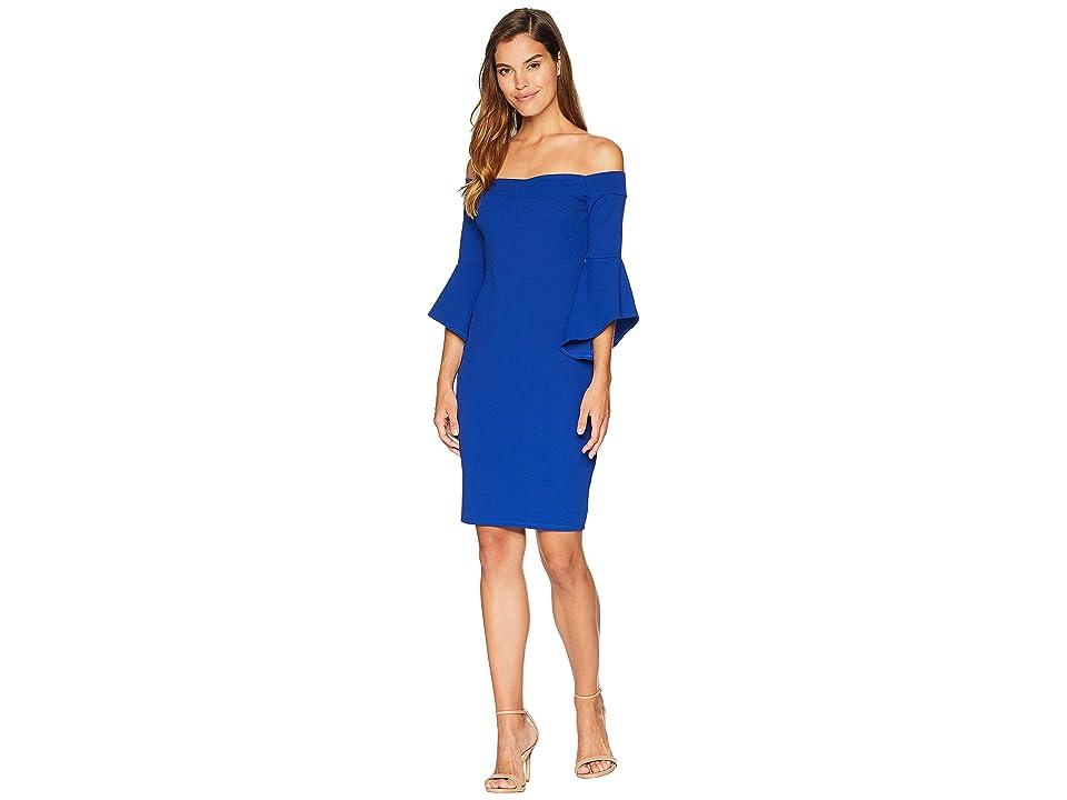 Bebe Off the Shoulder w/ Flowy Sleeve Dress (Royal Blue) Women