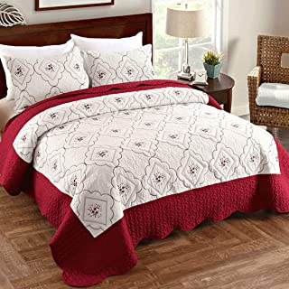 Oliven Quilts King Size,Reversible Bedspreads King,Embroidered Coverlet Set Burgundy&White,3 Piece(1 Quilt + 2 Pillow Shams)