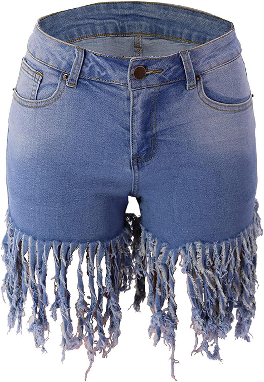 S&S Womens Stretchy Denim Shorts High Waisted Folded Hem Casual Tassel Jean Shorts