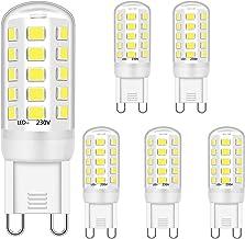 G9 Ledlampen, 5 W, komt overeen met 28 W, 33 W, 40 W, halogeenlamp, koud wit, 6000 K, G9, LED-stopcontact, flikkervrij, ni...