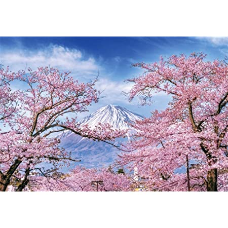Spring Decor Fish Tank Backdrop Poster Cherry Blossoms Sakura Snowy Mountain Fuji Lake View Picture Print Background Sticker Blue Pink and White L24 X H24 Inch