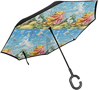 Inverted Umbrellas Winnie The Pooh Quotes Reverse Folding Umbrella Windproof UV Protection Big Straight Umbrella For Car Rain Outdoor With C-Shaped Handle
