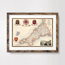 CORNWALL COUNTY VINTAGE MAP ART PRINT POSTER Britain British UK Antique Historical Home Decor Wall Picture A4 A3 A2 (10 Sizes)