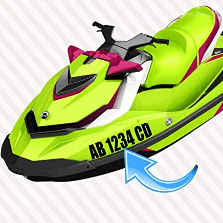 """JET SKI Registration Numbers Letters SET of Two (2X) DECAL HULL ID Vinyl Sticker 3"""" x 17"""" Pair"""