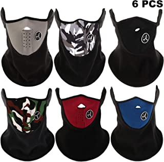 SATINIOR 6 Pieces Ski Face Mask Windproof Sports Mask Neck Warmer Half Face Mask for Winter
