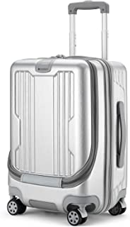 GURHODVO Front Pocket Luggage for Business - Lightweight Caryy on Rolling Laptop Suitcase 20 inch Multifunction Fashion (Silver, 20in(Carry on))