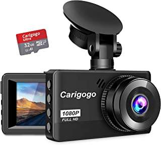 Dash Cam with SD Card(32G) Carigogo 1080P Full HD Dash Camera for Cars Recorder 3.2 Screen 170°Wide Angle, Night Vision, G-Sensor, WDR, Parking Monitor, Loop Recording, Motion Detection,