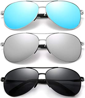 Polarized Aviator Sunglasses for Men and Women-UV400 Protection Mirrored Lens -Metal Frame with...