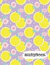 Sketchbook: Citrus Lemon & Roses Purple Background Fun Framed Drawing Paper Notebook