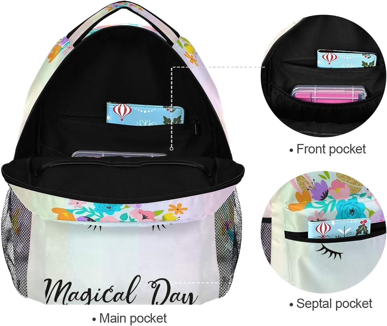 School Bookbags Laptop Backpacks Waterproof Travel Daypack MNSRUU Backpack for Girls Boys Magical Unicorn