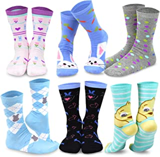 TeeHee Women's Easter Day Fashion Crew Socks 6 Pair Pack (Funny Easter 2)