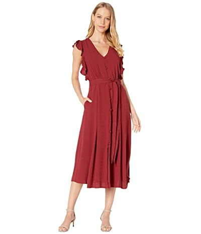 1.STATE Sleeveless Button Front Rayon Crosshatch Midi Dress (Mineral Red) Women
