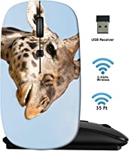 MSD Wireless Mouse 2.4G Travel Mice with USB Receiver, Noiseless and Silent Click with 1000 DPI for Notebook PC Laptop Computer MacBook Black Base Giraffe Portrait National Park Masai mara in Kenya I