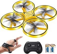 SGILE RC Drone con LED, con Control de Gestos/Rotación de 360 Grados/Modo sin Cabeza, con Luz Maravillosa, Drone para Niños y Adultos (Amarillo)