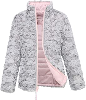Rokka&Rolla Girls' Lightweight Water Resistant Quilted Poly Insulated Faux Fur Reversible Cozy Puffer Jacket