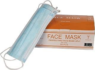 TxT Health -Surgical Medical Disposable Blue Face Masks, Dental Hospital Mouth Masks, Medical Masks for Everyday Use, Face Mask for Flu Dust Bacteria, Face Mask for Allergy Pollen
