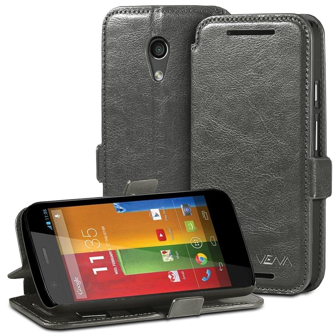 Vena Moto G (2nd Gen) Wallet Case [vFolio] Slim Vintage Leather Wallet Stand Case with Card Slots for Motorola Moto G (2nd Generation) 2014 - Gray