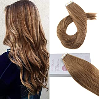 Moresoo 16 Inch Tape in Extensions Remy Hair Extensions Color Light Brown 50 Grams 20 Pieces Tape in Brown Hair Extensions Human Hair Skin Weft Extension