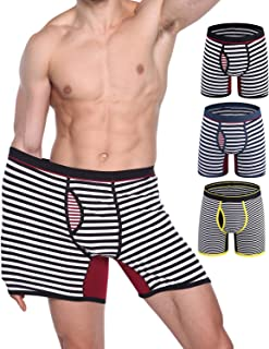 SANQIANG Men's Striped Boxer Briefs Big and Tall Plus Size Underwear for Men