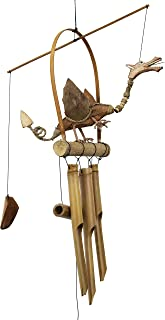 Cohasset Gifts 177N Cohasset Natural Wood Dragon Bobbing Head Bamboo Wind Chime