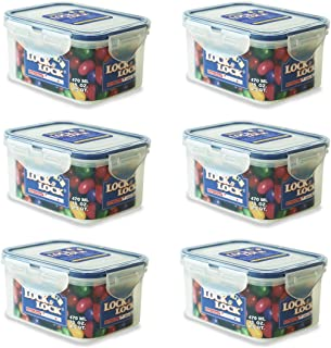 Lock & Lock Rectangular Water Tight Food Container, Set of 6 (15 oz each)