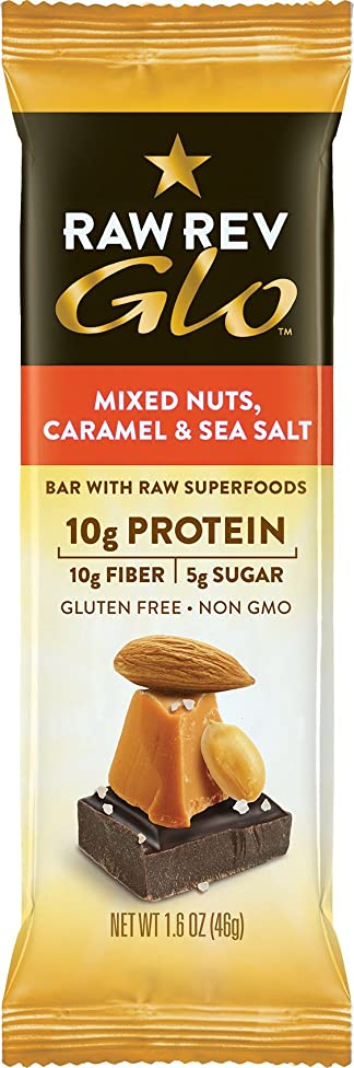 Raw Rev Glo Vegan, Gluten-Free Protein Bars - Mixed Nuts Caramel & Sea Salt 1.6 ounce (Pack of 12)