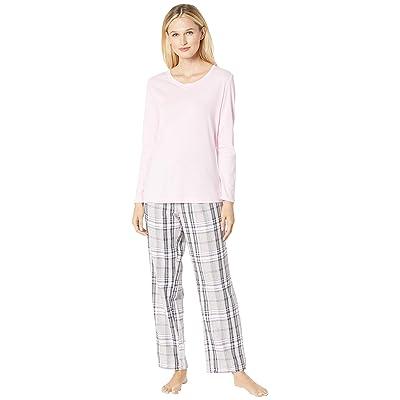 Nautica Cotton Flannel Pajama Set (Land Pink Plaid) Women