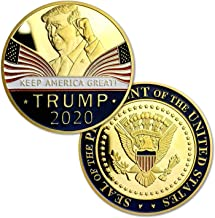 Donald Trump 2020 Re-Election Challenge Coin - 24K Gold Plated Keep America Great Commemorative Collectors Edition Coins. Stunning Proof Coin in Acrylic Capsule and Velvet Bag. Red Wave.