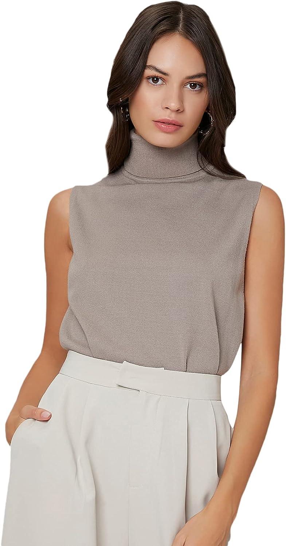 MakeMeChic Women's Sleeveless High Neck Ribbed Knit Pullover Sweater Vest