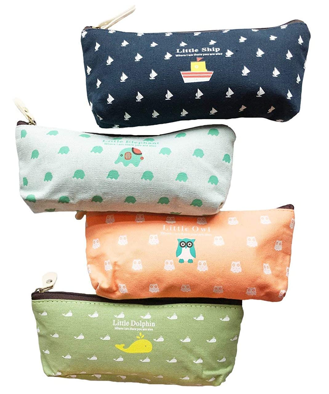 iToolai Canvas Pen Pencil Case Bag Zipper Travel Pouch for Back to School Student (Pack of 4, Animals)