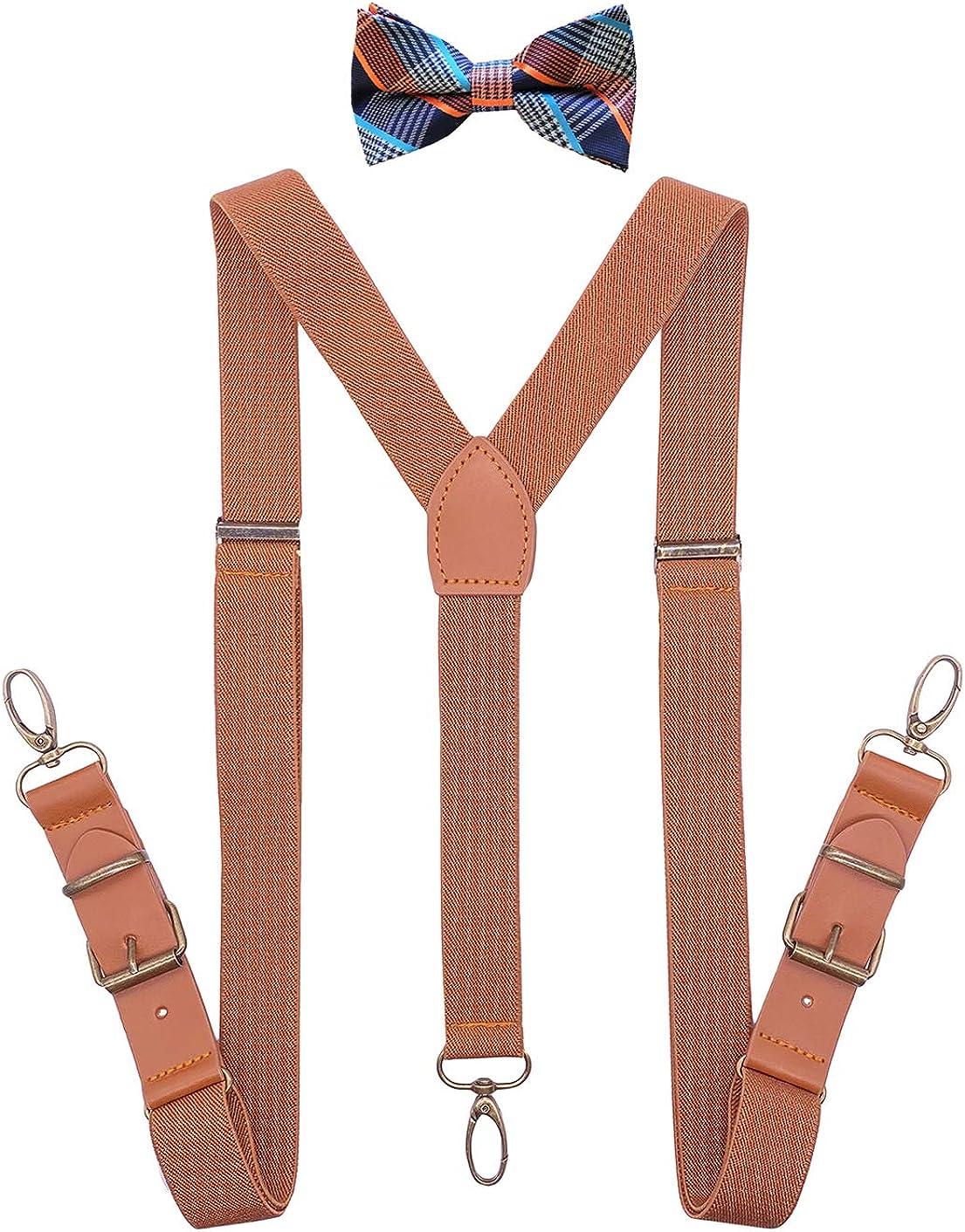 QCWQMYL Suspenders Bow Tie Set for Men Tuxedo Y-Back Braces Leather Bronze Clips