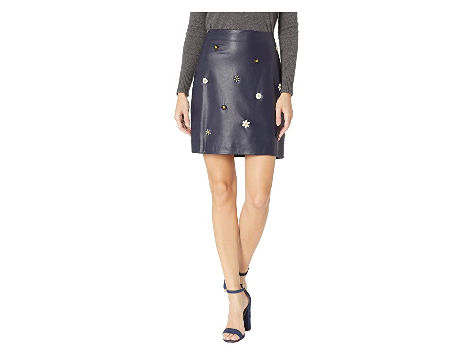 CeCe Embellished Pleather Skirt (Caviar) Women