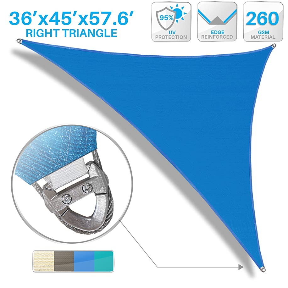 Patio Large Sun Shade Sail 36' x 45' x 58' Right Triangle Heavy Duty Strengthen Durable Outdoor Canopy UV Block Fabric A-Ring Design Metal Spring Reinforcement 7 Year Warranty -Blue